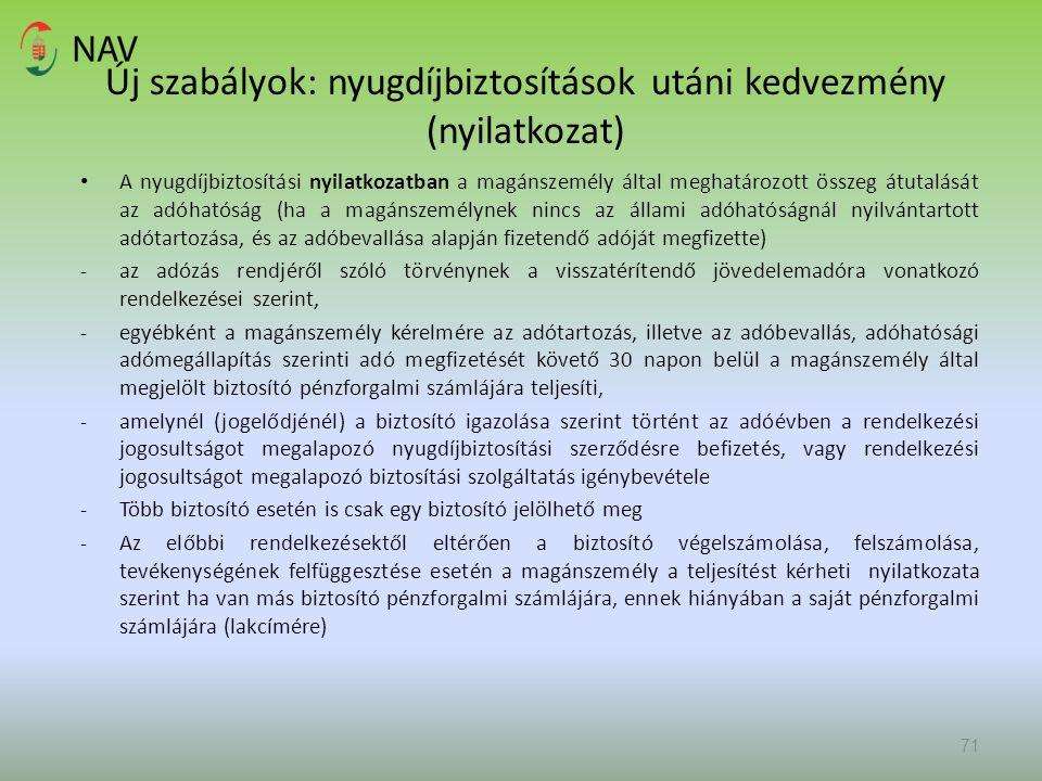 Új szabályok: nyugdíjbiztosítások utáni kedvezmény (nyilatkozat)