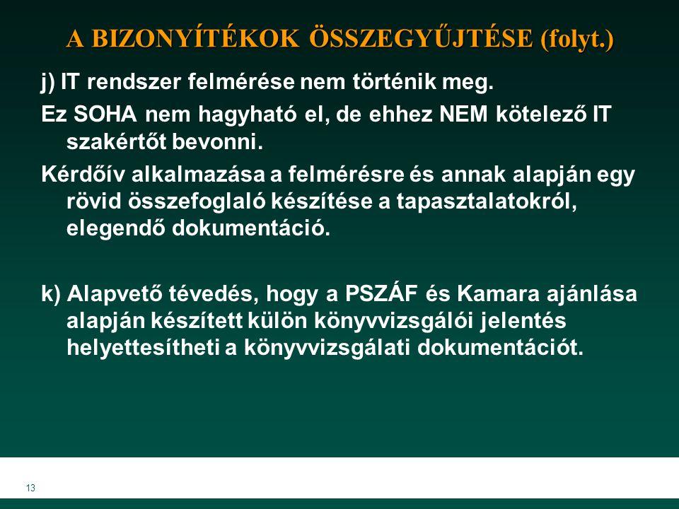 A BIZONYÍTÉKOK ÖSSZEGYŰJTÉSE (folyt.)