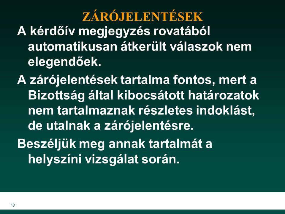 ZÁRÓJELENTÉSEK