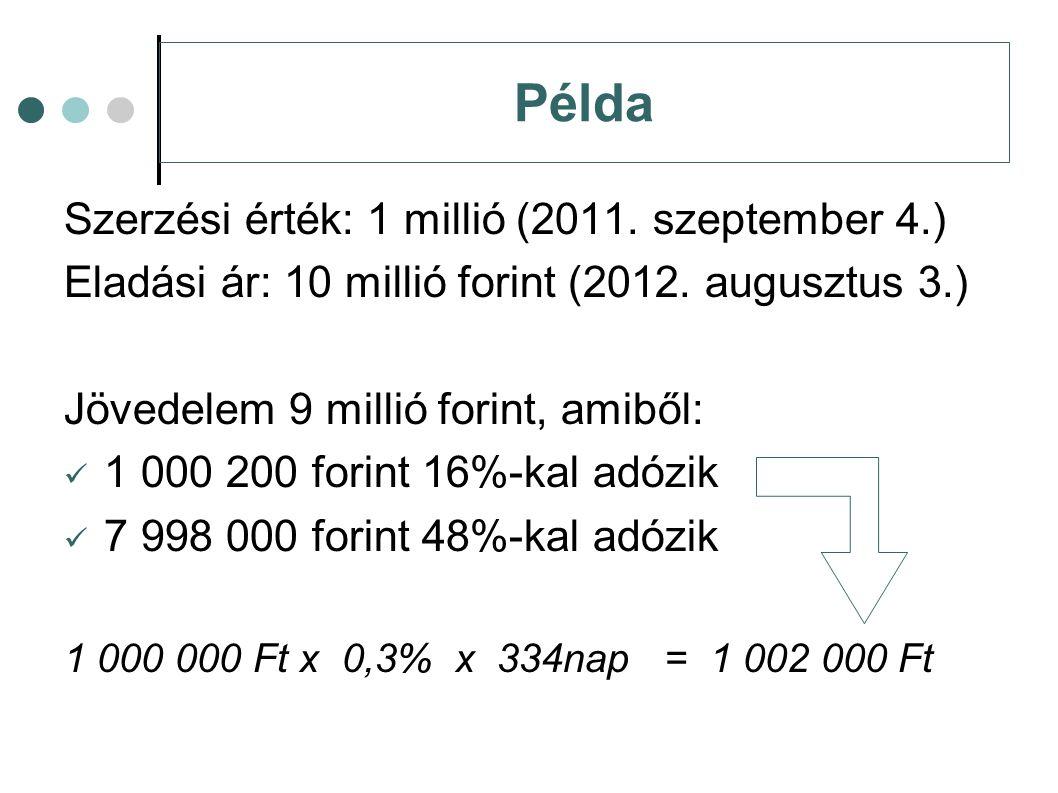 Példa Szerzési érték: 1 millió (2011. szeptember 4.)