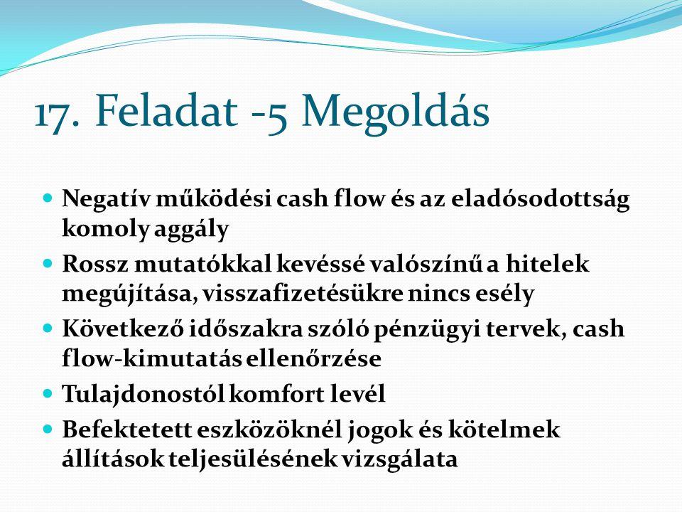17. Feladat -5 Megoldás Negatív működési cash flow és az eladósodottság komoly aggály.