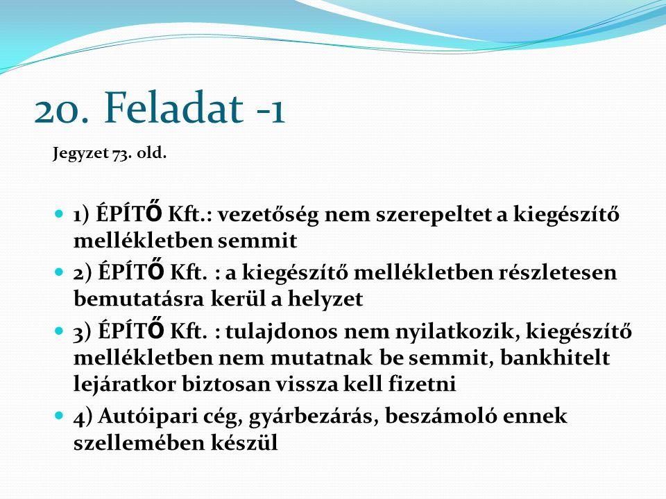 20. Feladat -1 Jegyzet 73. old. 1) ÉPÍTŐ Kft.: vezetőség nem szerepeltet a kiegészítő mellékletben semmit.