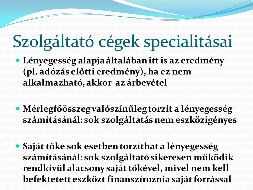 Szolgáltató cégek specialitásai