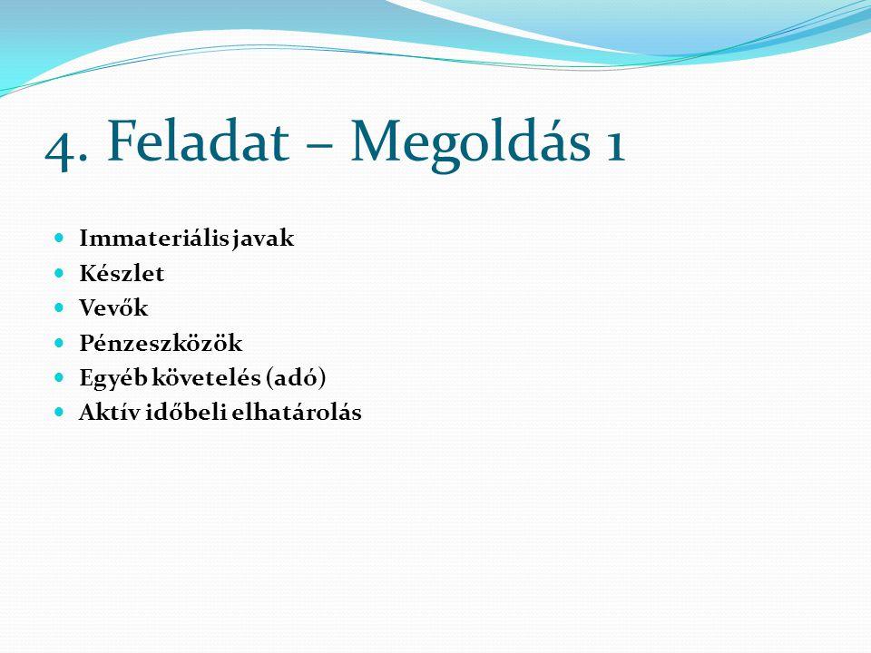 4. Feladat – Megoldás 1 Immateriális javak Készlet Vevők Pénzeszközök