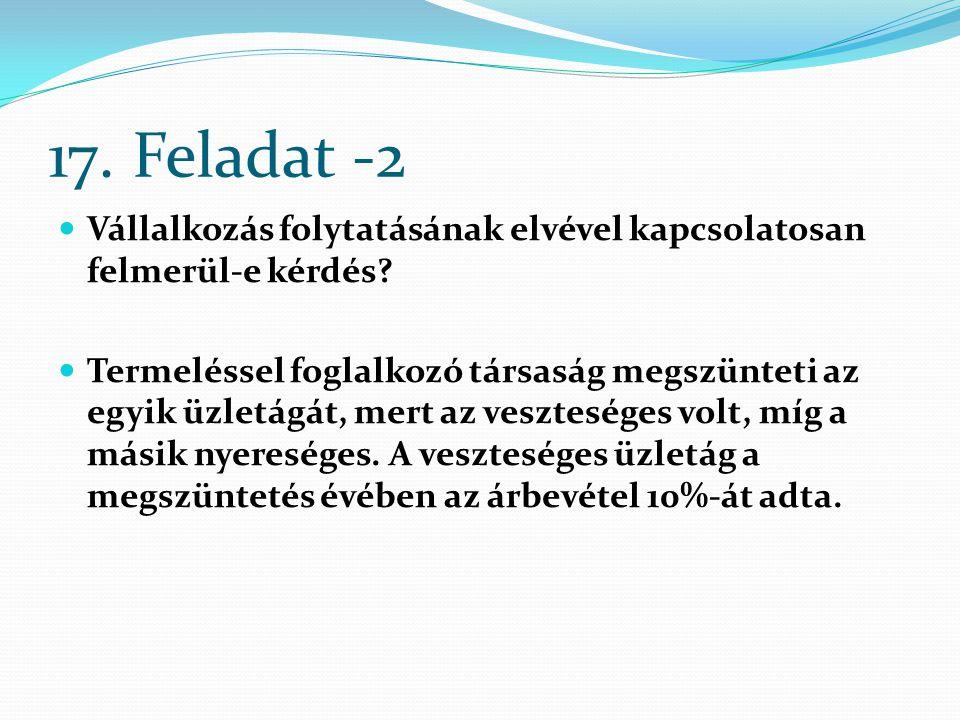 17. Feladat -2 Vállalkozás folytatásának elvével kapcsolatosan felmerül-e kérdés