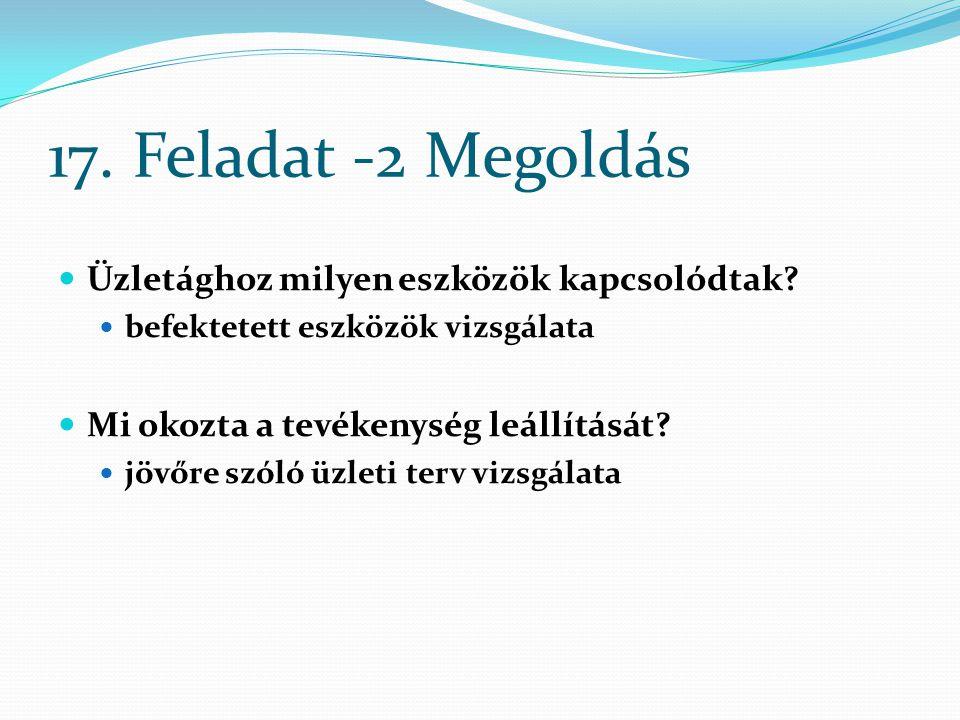 17. Feladat -2 Megoldás Üzletághoz milyen eszközök kapcsolódtak