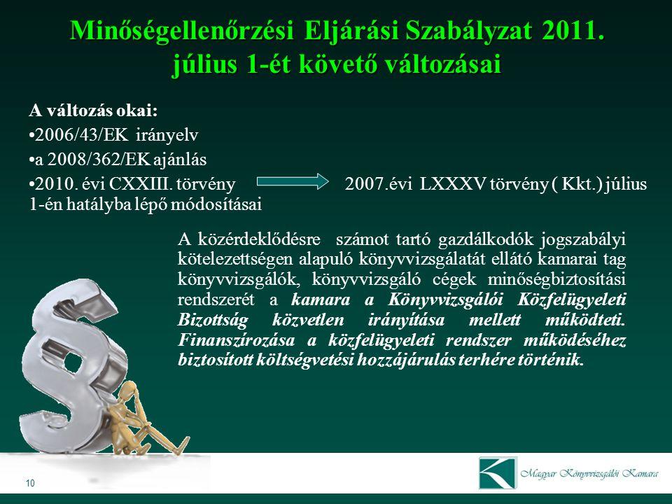 Minőségellenőrzési Eljárási Szabályzat 2011