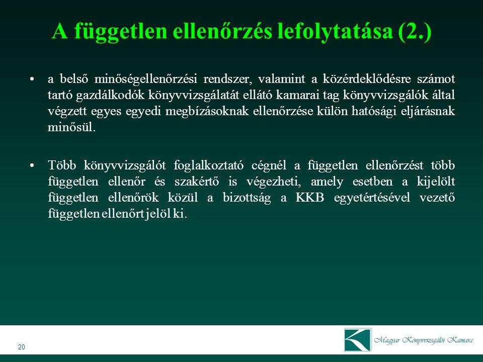 A független ellenőrzés lefolytatása (2.)