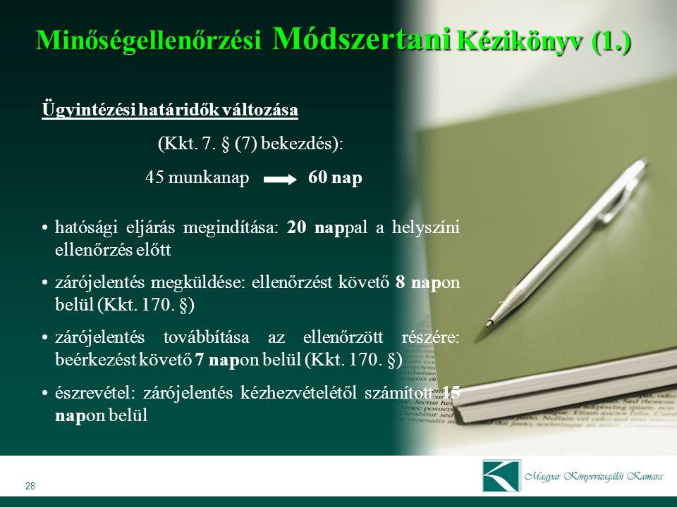 Minőségellenőrzési Módszertani Kézikönyv (1.)