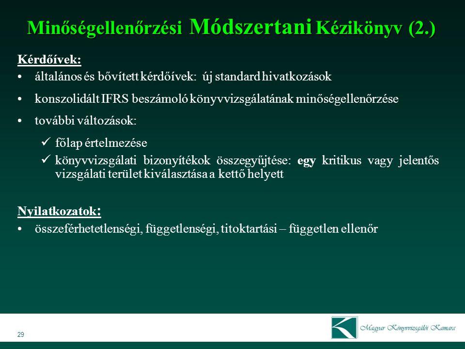 Minőségellenőrzési Módszertani Kézikönyv (2.)