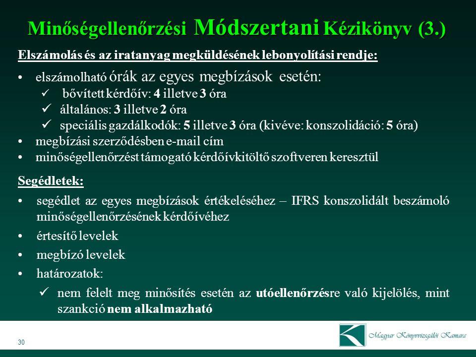 Minőségellenőrzési Módszertani Kézikönyv (3.)