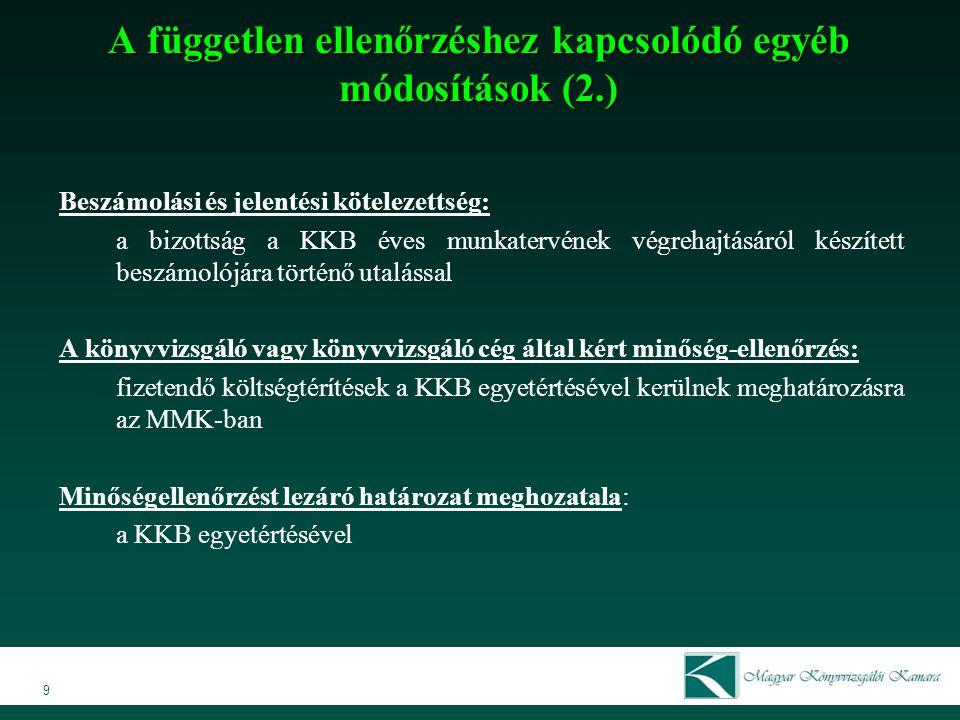 A független ellenőrzéshez kapcsolódó egyéb módosítások (2.)
