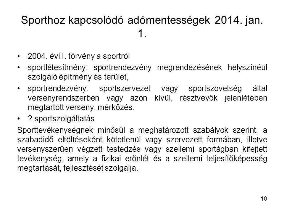 Sporthoz kapcsolódó adómentességek 2014. jan. 1.