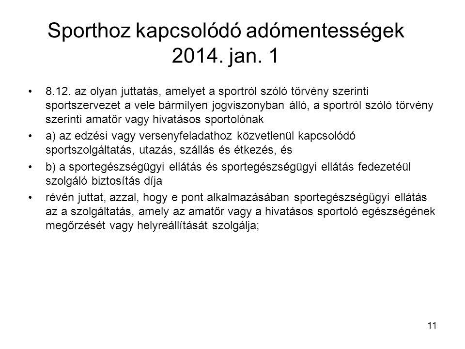 Sporthoz kapcsolódó adómentességek 2014. jan. 1