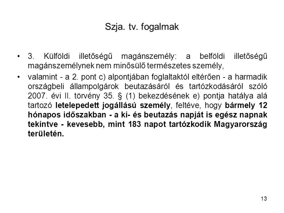 Szja. tv. fogalmak 3. Külföldi illetőségű magánszemély: a belföldi illetőségű magánszemélynek nem minősülő természetes személy,