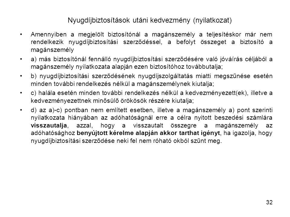 Nyugdíjbiztosítások utáni kedvezmény (nyilatkozat)