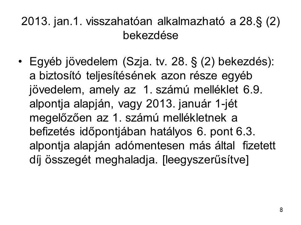 2013. jan.1. visszahatóan alkalmazható a 28.§ (2) bekezdése
