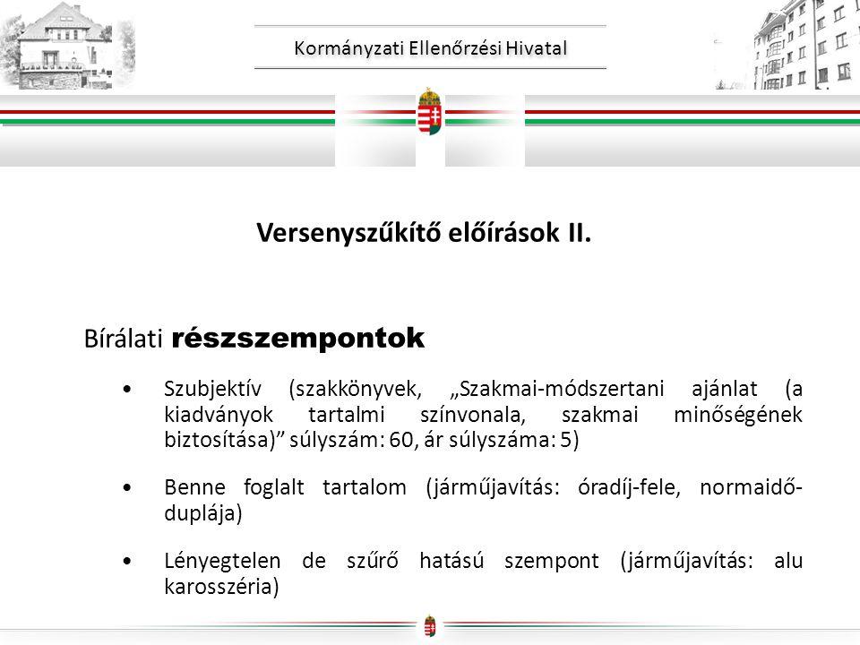 Versenyszűkítő előírások II.