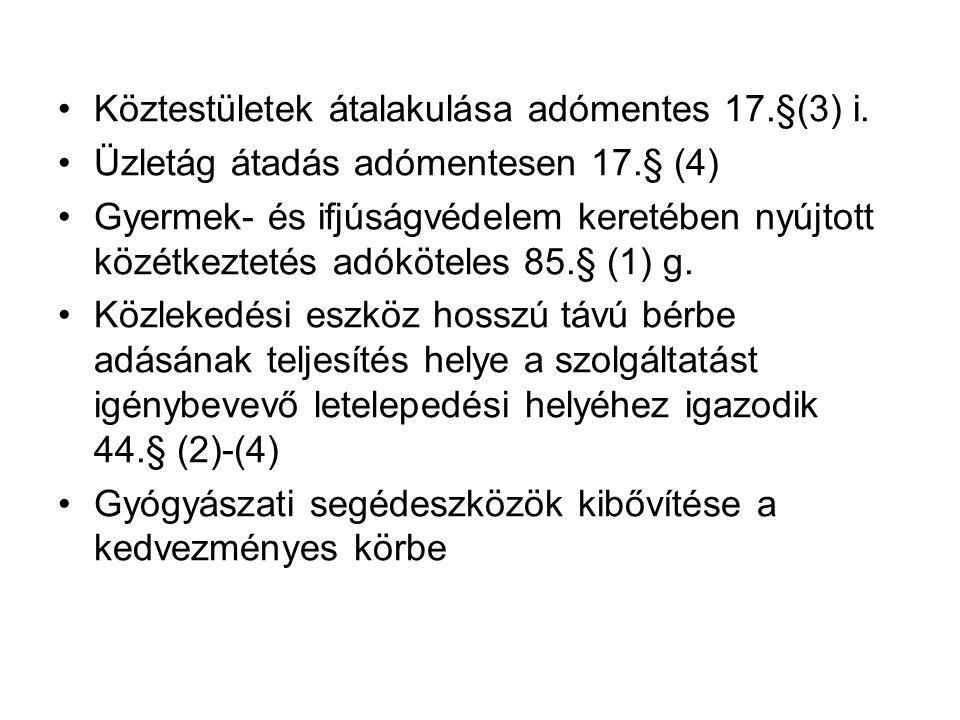 Köztestületek átalakulása adómentes 17.§(3) i.
