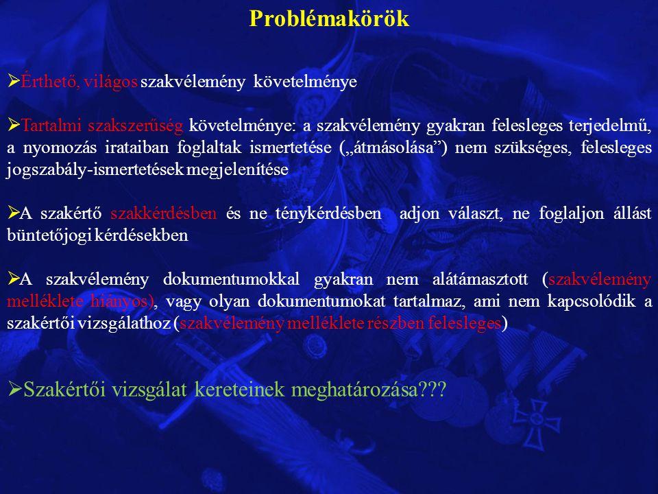 Problémakörök Szakértői vizsgálat kereteinek meghatározása