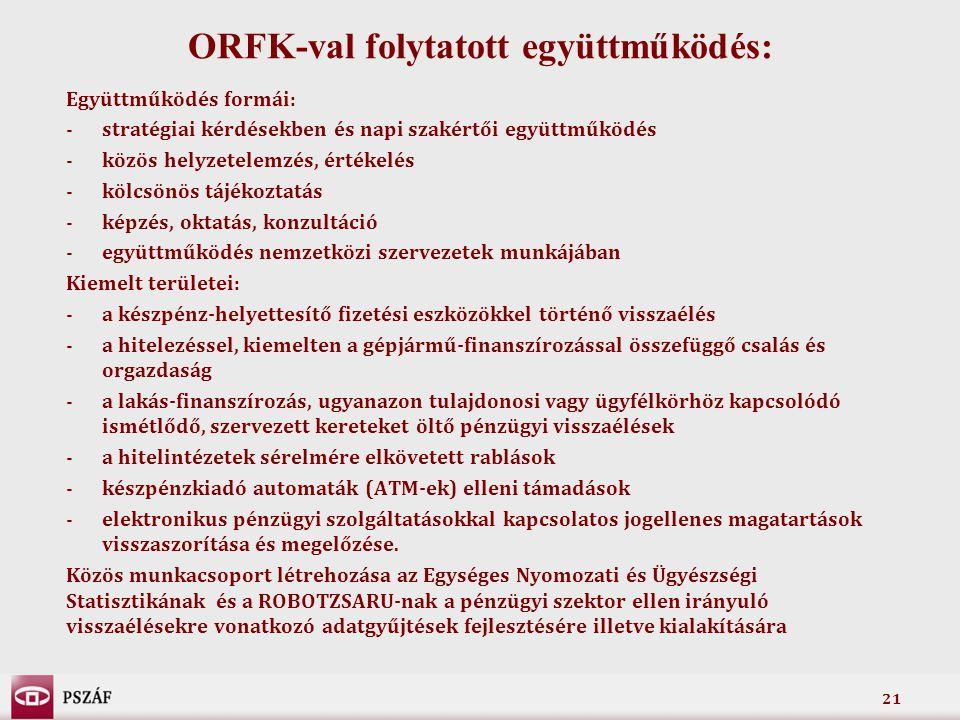 ORFK-val folytatott együttműködés: