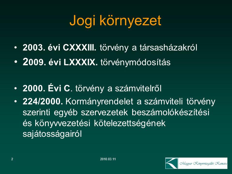 Jogi környezet 2009. évi LXXXIX. törvénymódosítás