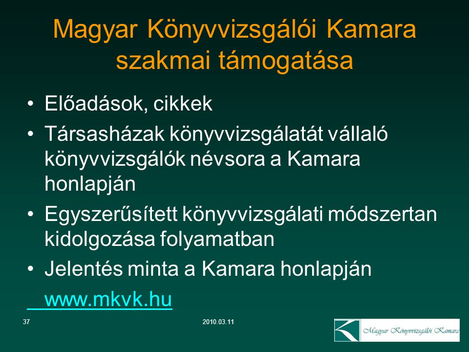 Magyar Könyvvizsgálói Kamara szakmai támogatása