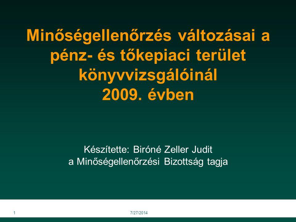 Minőségellenőrzés változásai a pénz- és tőkepiaci terület könyvvizsgálóinál 2009. évben Készítette: Biróné Zeller Judit a Minőségellenőrzési Bizottság tagja