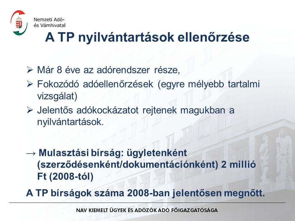 A TP nyilvántartások ellenőrzése