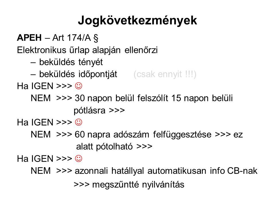 Jogkövetkezmények APEH – Art 174/A §