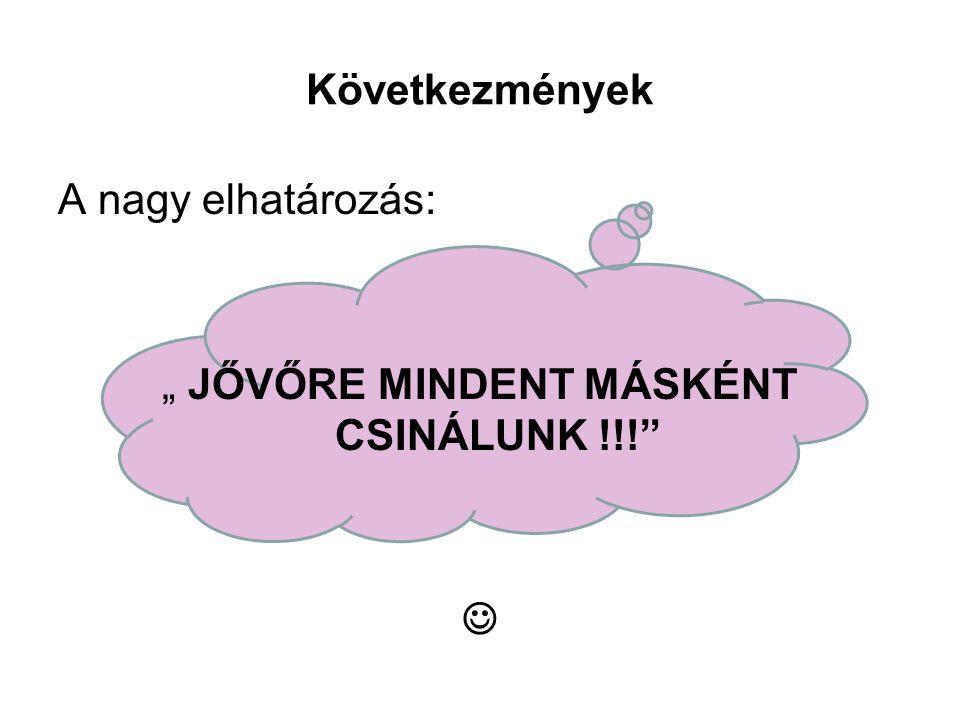 """Következmények A nagy elhatározás: """" JŐVŐRE MINDENT MÁSKÉNT CSINÁLUNK !!! """