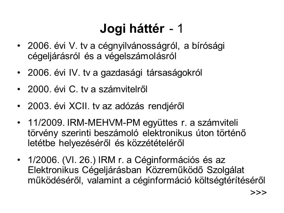 Jogi háttér - 1 2006. évi V. tv a cégnyilvánosságról, a bírósági cégeljárásról és a végelszámolásról.