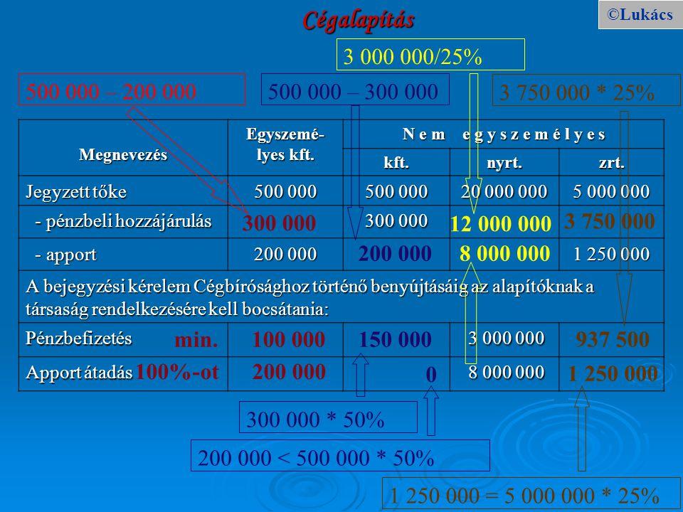 Cégalapítás ©Lukács. 3 000 000/25% 500 000 – 200 000. 500 000 – 300 000. 3 750 000 * 25% Megnevezés.