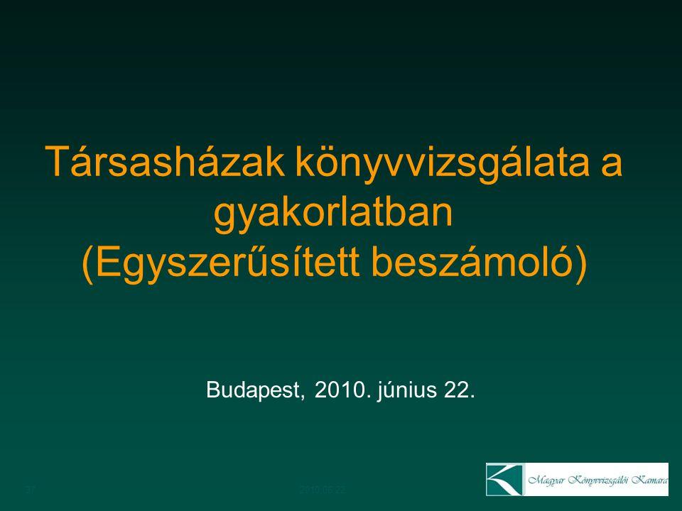 Társasházak könyvvizsgálata a gyakorlatban (Egyszerűsített beszámoló)