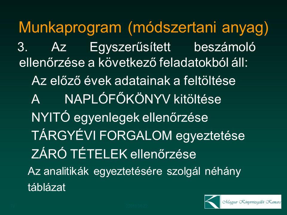 Munkaprogram (módszertani anyag)