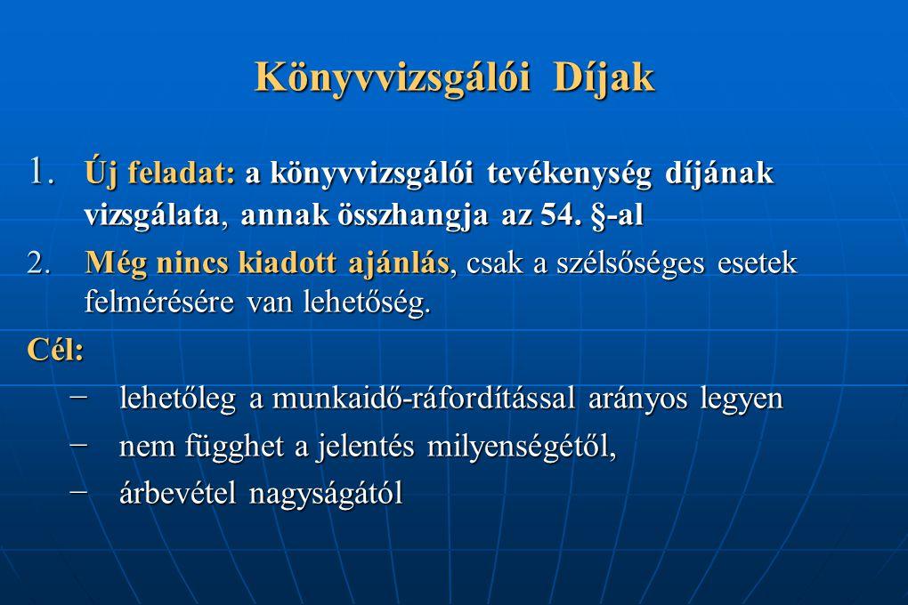 Könyvvizsgálói Díjak 1. Új feladat: a könyvvizsgálói tevékenység díjának vizsgálata, annak összhangja az 54. §-al.