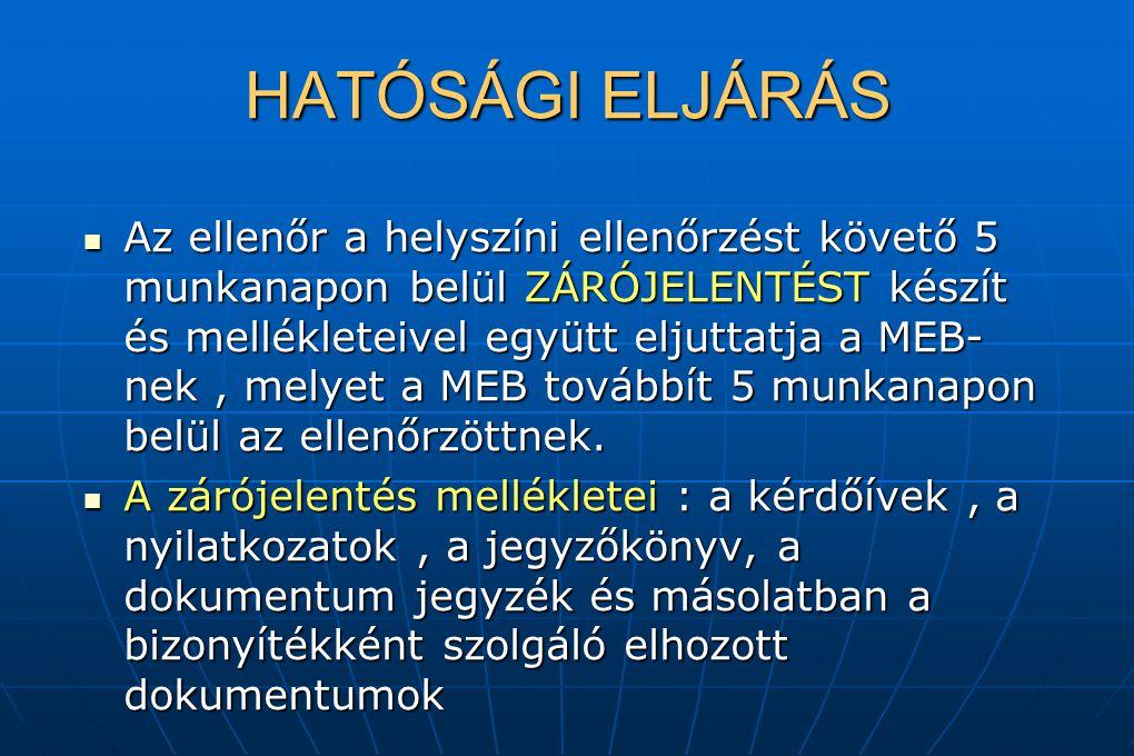 HATÓSÁGI ELJÁRÁS