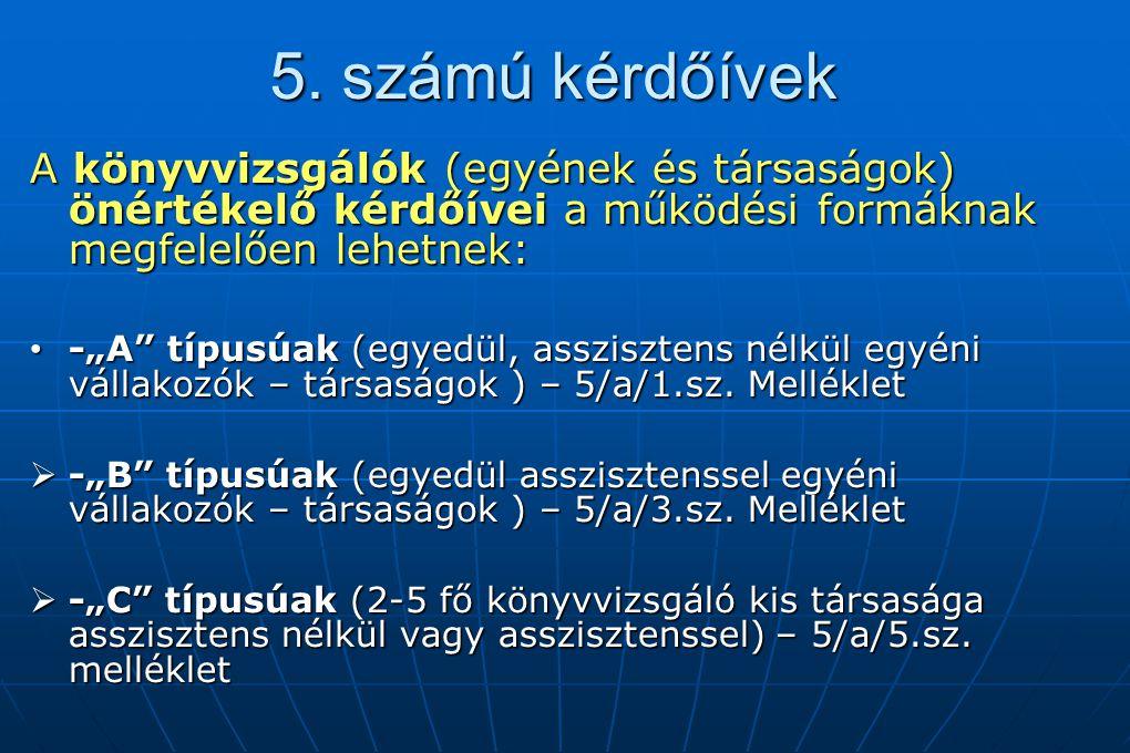 5. számú kérdőívek A könyvvizsgálók (egyének és társaságok) önértékelő kérdőívei a működési formáknak megfelelően lehetnek: