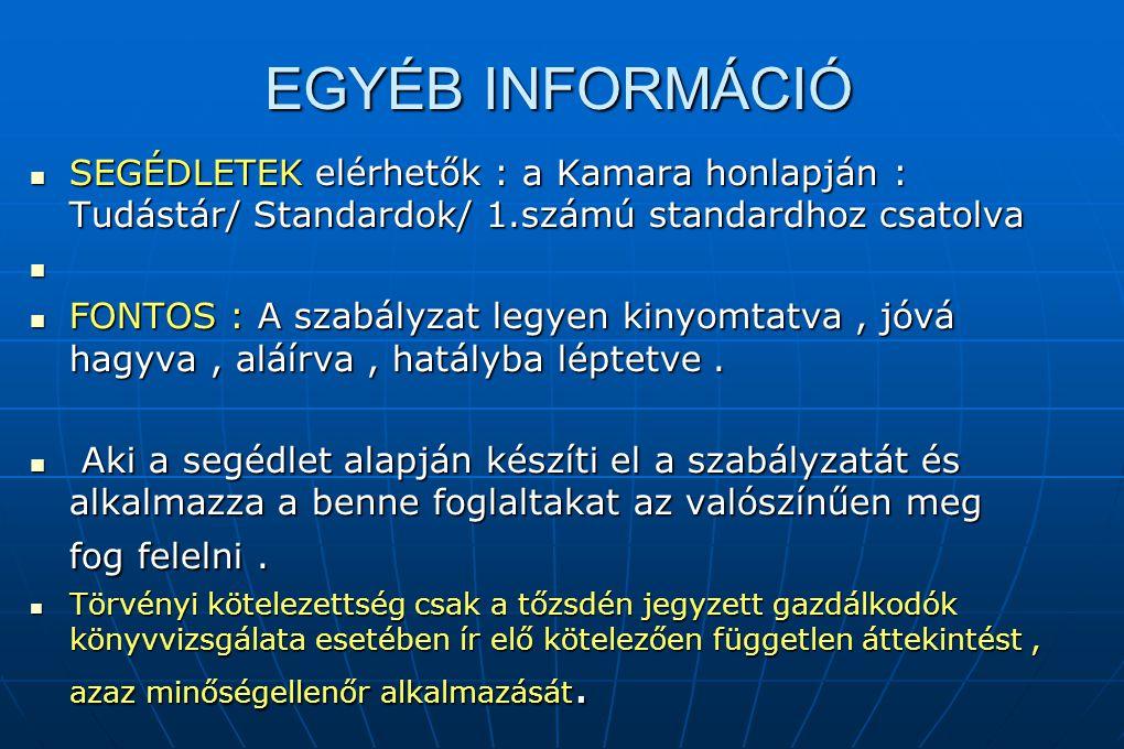 EGYÉB INFORMÁCIÓ SEGÉDLETEK elérhetők : a Kamara honlapján : Tudástár/ Standardok/ 1.számú standardhoz csatolva.
