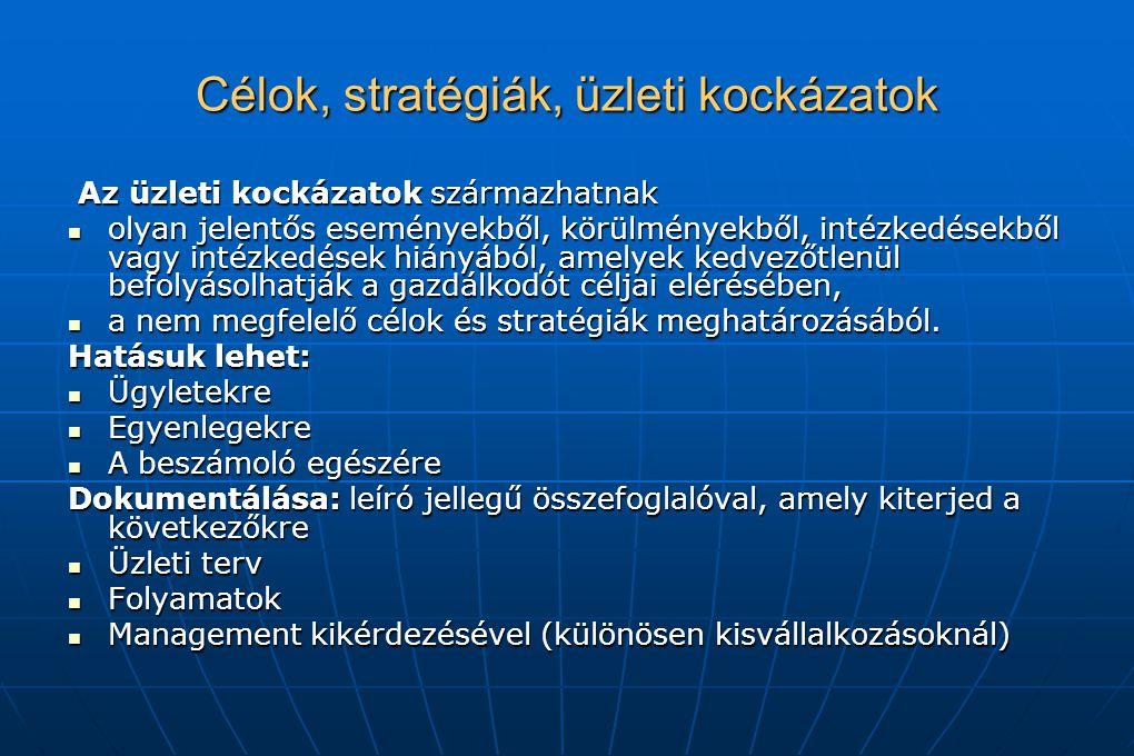 Célok, stratégiák, üzleti kockázatok