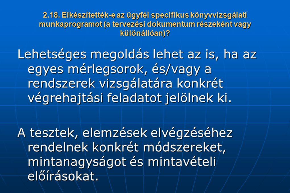 2.18. Elkészítették-e az ügyfél specifikus könyvvizsgálati munkaprogramot (a tervezési dokumentum részeként vagy különállóan)