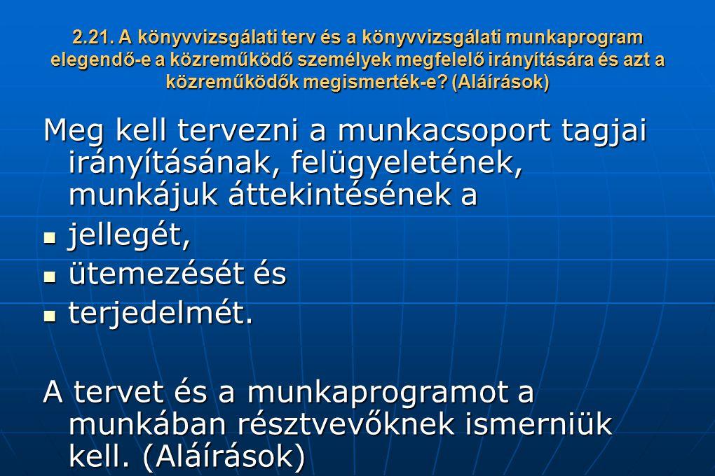 2.21. A könyvvizsgálati terv és a könyvvizsgálati munkaprogram elegendő-e a közreműködő személyek megfelelő irányítására és azt a közreműködők megismerték-e (Aláírások)
