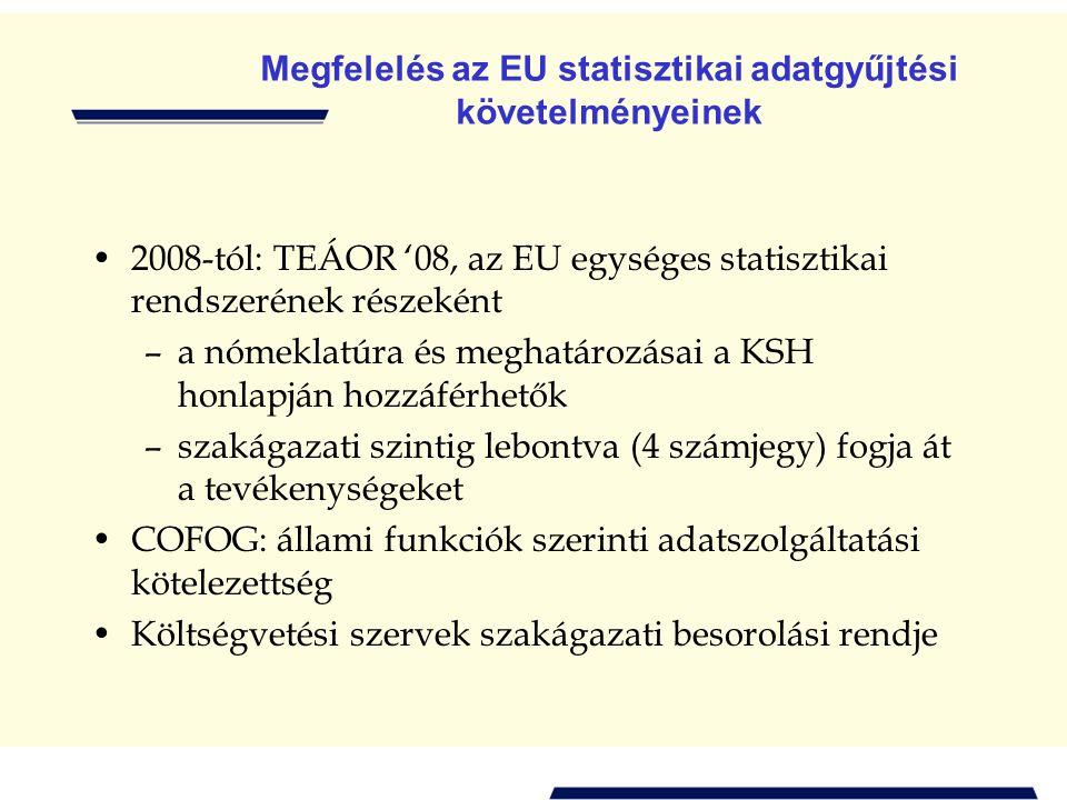 Megfelelés az EU statisztikai adatgyűjtési követelményeinek