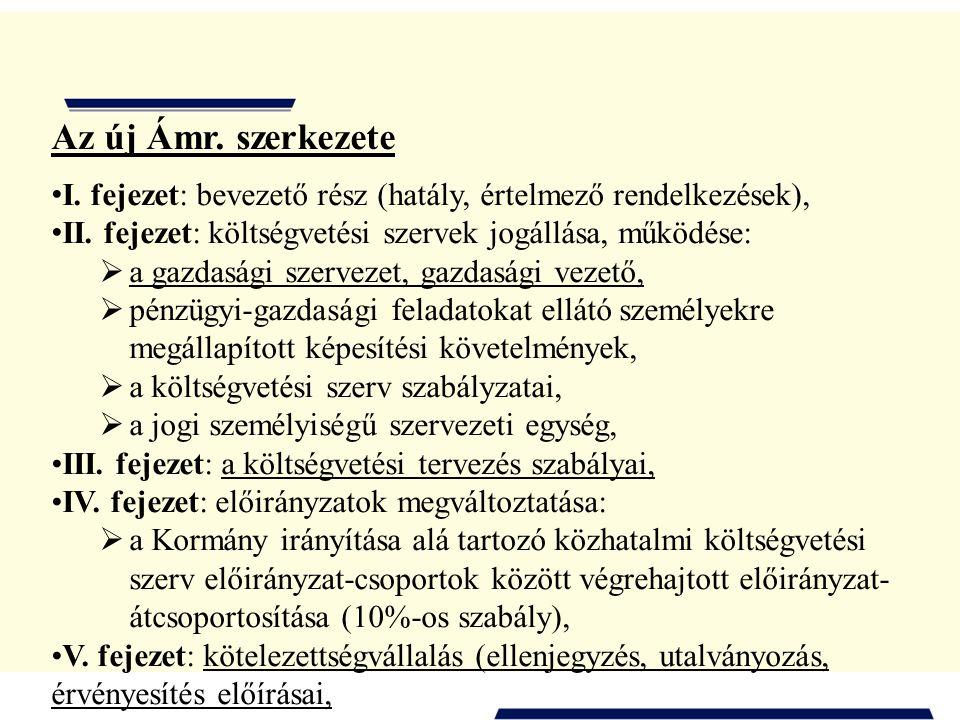 Az új Ámr. szerkezete I. fejezet: bevezető rész (hatály, értelmező rendelkezések), II. fejezet: költségvetési szervek jogállása, működése: