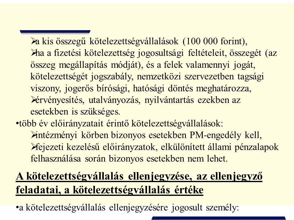 a kis összegű kötelezettségvállalások (100 000 forint),