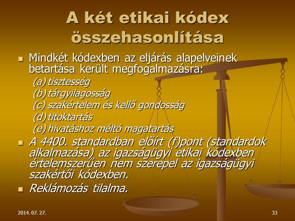 A két etikai kódex összehasonlítása