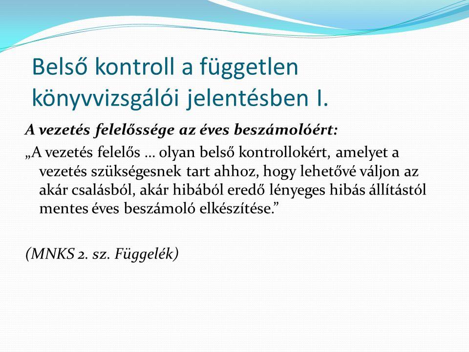 Belső kontroll a független könyvvizsgálói jelentésben I.