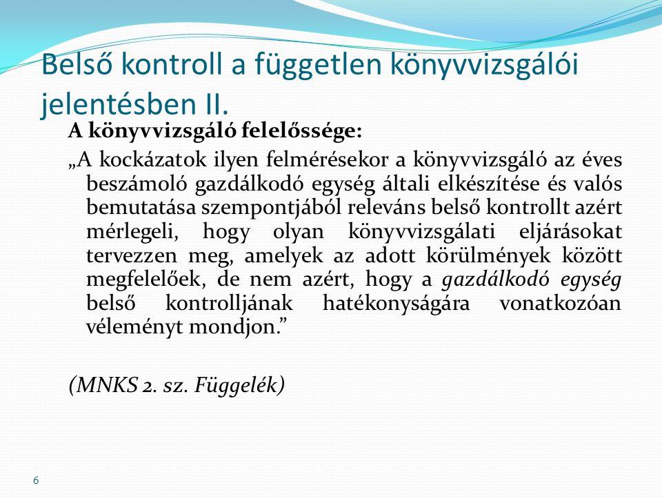 Belső kontroll a független könyvvizsgálói jelentésben II.