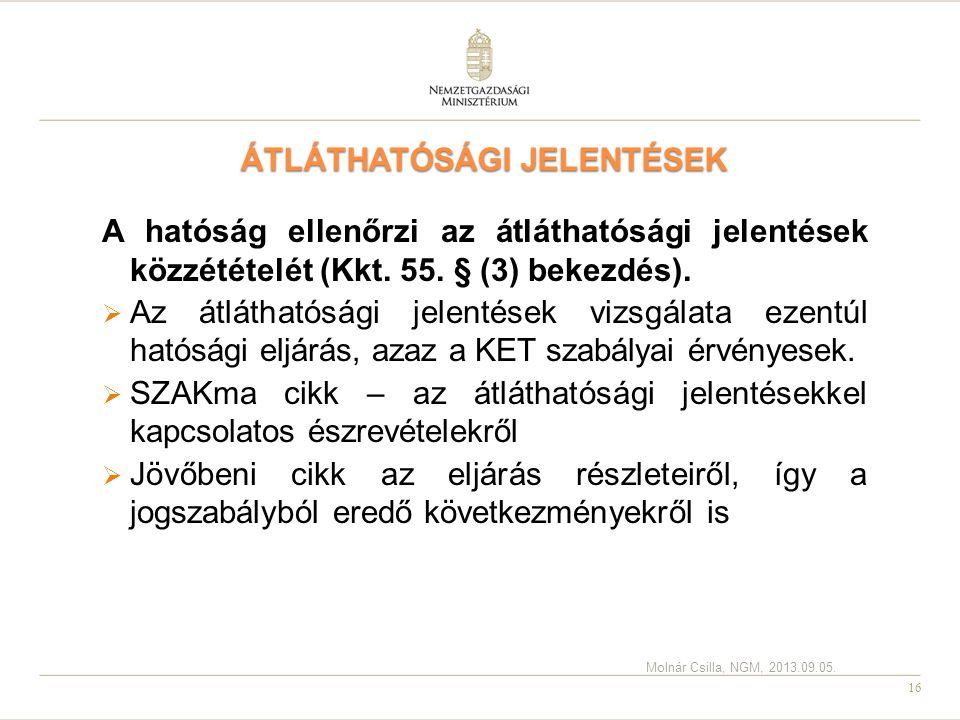ÁTLÁTHATÓSÁGI JELENTÉSEK