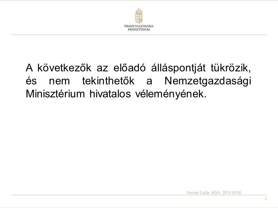 A következők az előadó álláspontját tükrözik, és nem tekinthetők a Nemzetgazdasági Minisztérium hivatalos véleményének.
